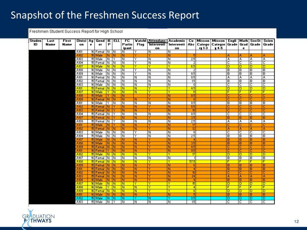Snapshot of the Freshmen Success Report