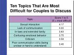 ten topics that are most difficult for couples to discuss25