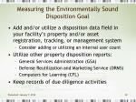 measuring the environmentally sound disposition goal