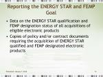 reporting the energy star and femp goal