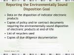 reporting the environmentally sound disposition goal