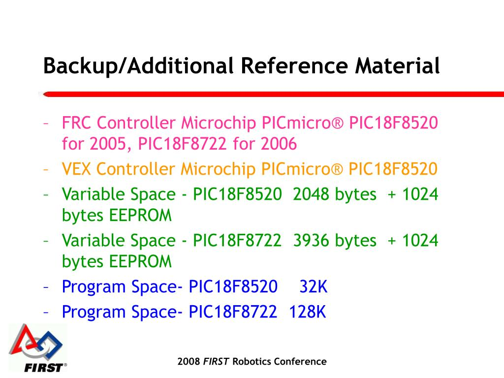 Backup/Additional Reference Material