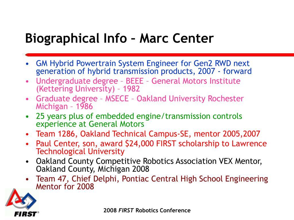 Biographical Info – Marc Center