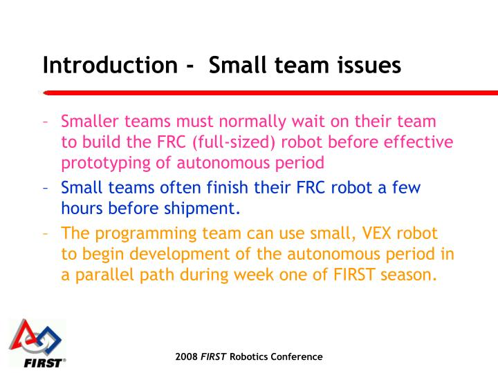 Introduction small team issues