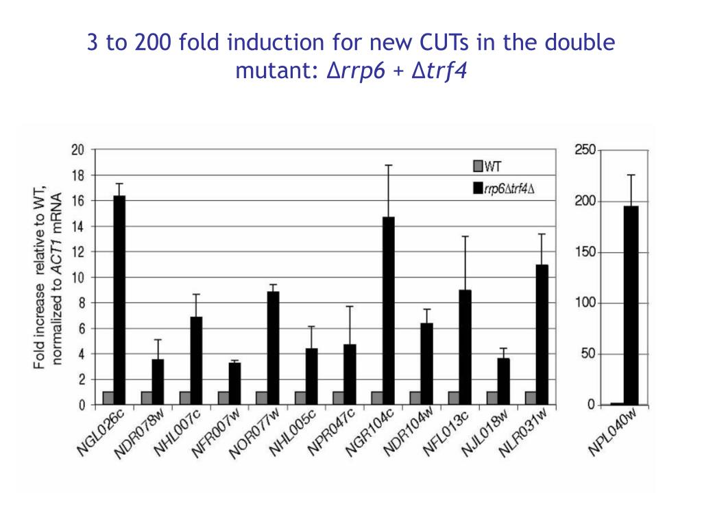 3 to 200 fold induction for new CUTs in the double mutant: ∆