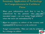 summary application of technology for competitiveness in caribbean firms64