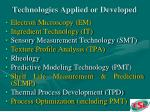 technologies applied or developed
