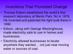inventions that promoted change