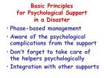basic principles for psychological support in a disaster
