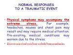normal responses to a traumatic event16