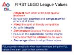 first lego league values