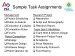 sample task assignments