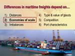 differences in maritime freights depend on11