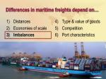 differences in maritime freights depend on18