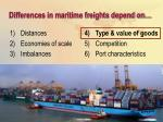 differences in maritime freights depend on22