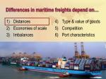 differences in maritime freights depend on8