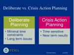 deliberate vs crisis action planning