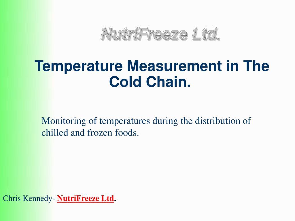 temperature measurement in the cold chain l.