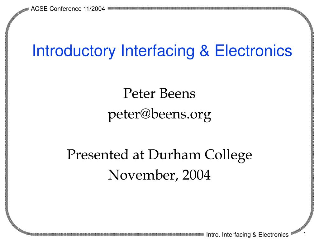 introductory interfacing electronics l.