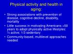 physical activity and health in aging