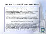 hr recommendations continued