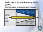 preliminary service delivery model sdm