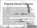 potential ethical concerns