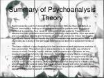 summary of psychoanalysis theory