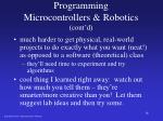 programming microcontrollers robotics cont d
