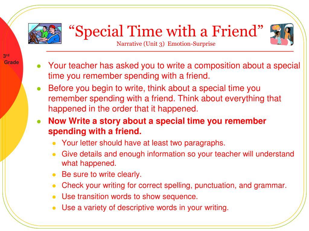 special time with a friend narrative unit 3 emotion surprise l.