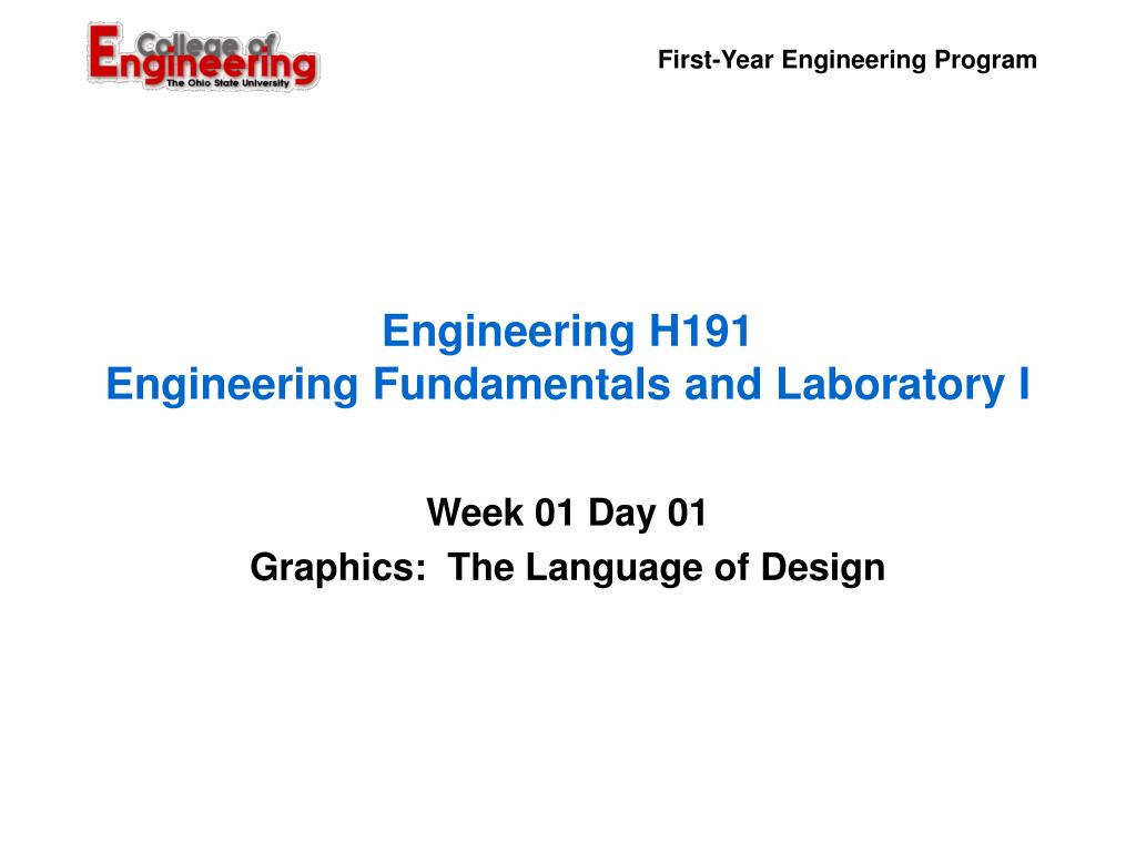 engineering h191 engineering fundamentals and laboratory i l.