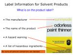 label information for solvent products