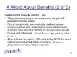 a word about benefits 2 of 3
