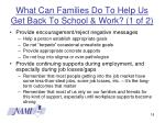 what can families do to help us get back to school work 1 of 2