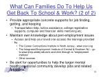 what can families do to help us get back to school work 2 of 2