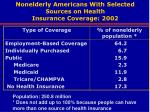 nonelderly americans with selected sources on health insurance coverage 2002