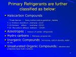 primary refrigerants are further classified as below