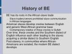 history of be