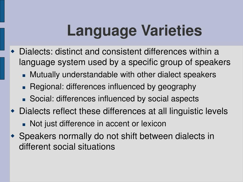 variants and varieties of english language