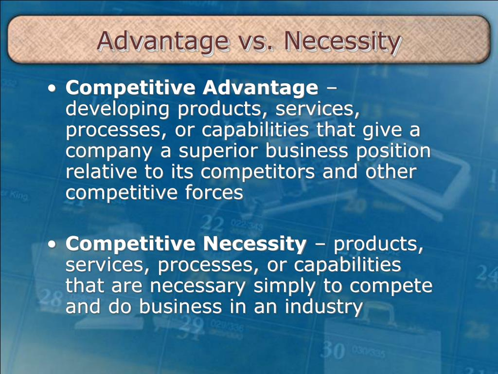 advantage vs necessity l.