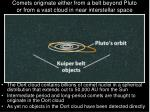comets originate either from a belt beyond pluto or from a vast cloud in near interstellar space