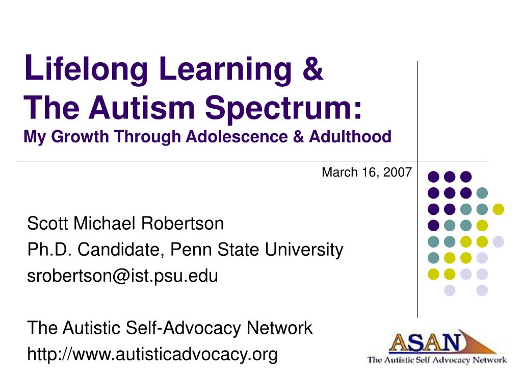 l ifelong learning the autism spectrum my growth through adolescence adulthood l.