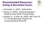 recommended resources acting nonverbal comm