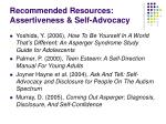 recommended resources assertiveness self advocacy