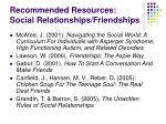 recommended resources social relationships friendships