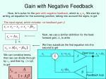 gain with negative feedback