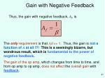gain with negative feedback27