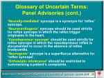 glossary of uncertain terms panel advisories cont