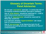 glossary of uncertain terms panel advisories