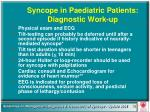 syncope in paediatric patients diagnostic work up